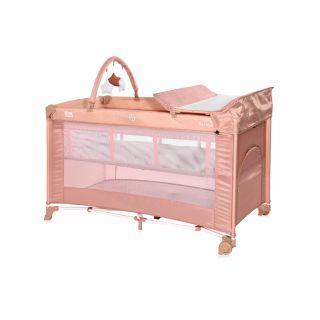 Patut pliabil Torino Plus, 2 nivele cu accesorii, Misty Rose
