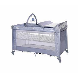 Patut pliabil Torino Plus, 2 nivele cu accesorii, Silver Blue