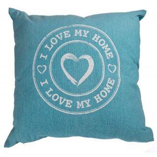 Perna decorativa I love my home - albastru, 40 x 40 cm, Radar