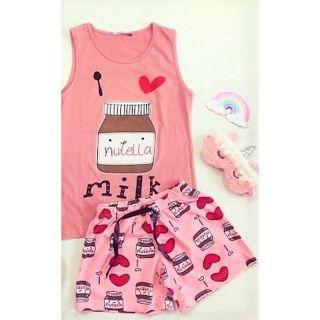 Pijama fara maneci- I Love Nutella Milk, diverse marimi, Radar
