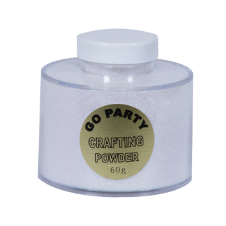 Pudra cu sclipici Alb Iridescent Pentru Baloane- 60 gr, Qualatex