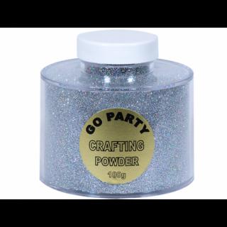 Pudra cu sclipici Argintiu Holografic Pentru Baloane- 100 gr, Qualatex
