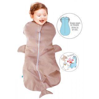 Sac de dormit Fun Animal  2in1 shark taupe -0-3 luni- Wallaboo