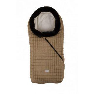 Nuvita Pop sac de iarna 100 cm - Checkered Honey/Beige cu guler de blana - 9635