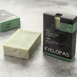 Sapun natural cu argila verde si menta (120g). Kyklopas