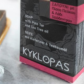 Sapun natural cu gudron de pin si ulei de arbore de ceai (120g). Kyklopas