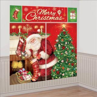 Scena Decorativa Ornament Sala, Banner Mare Mos Craciun, 5 piese, Amscan 670203