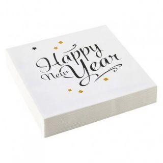 Servetele Happy New Year Confetti, 33 x 33 cm, Amscan 9902272, Set 20 buc
