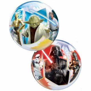Set 10 baloane Air Bubble Star Wars + bat si rozeta, Qualatex 22875