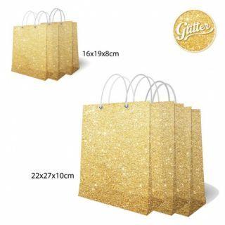 Set pungi aurii cu sclipici pentru cadouri -  2 dimensiuni, Radar