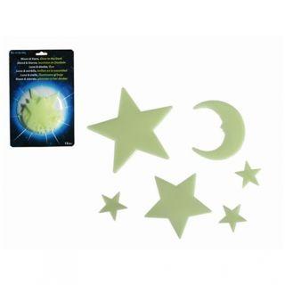 Stele si luna fosforescente pentru decorarea incaperii, Radar, Set 15 buc