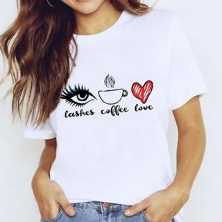 Tricou bumbac cu mesaj - Lashes, Coffee & Love, diverse marimi, Radar